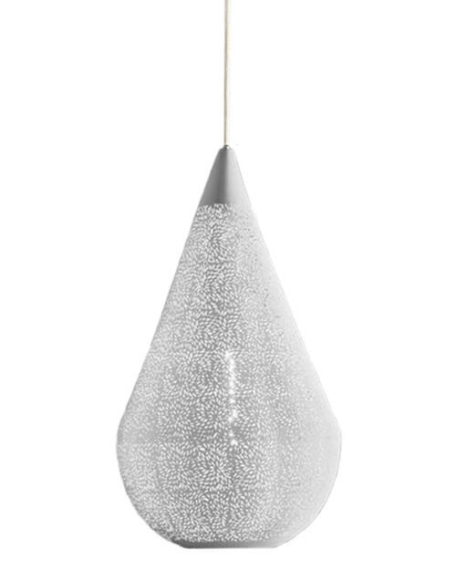 Akesh White Perforated Teadrop Pendant