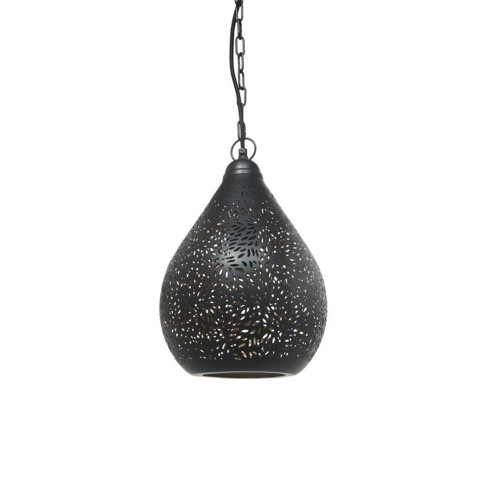 Aqua Black Perforated Teardrop Pendant Switched Off