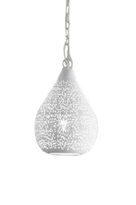 Aqua White Perforated Teardrop Pendant Switched Off