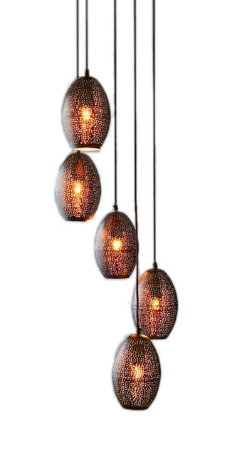 Constellation Black Perforated Cluster Pendant Light
