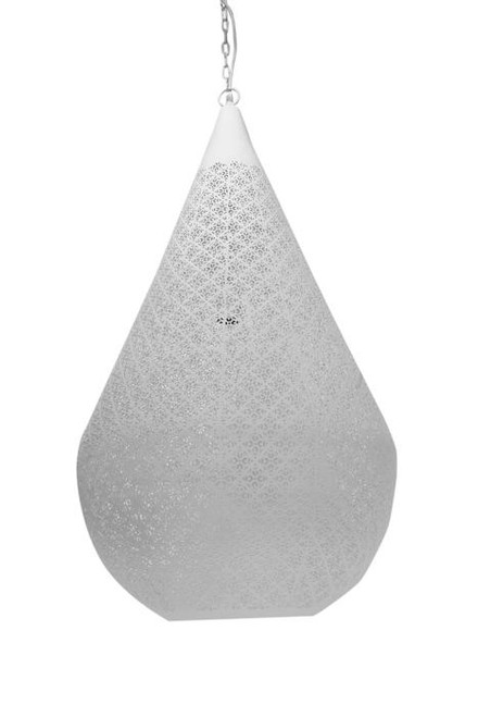 Antalya White Perforated Teardrop Pendant Light