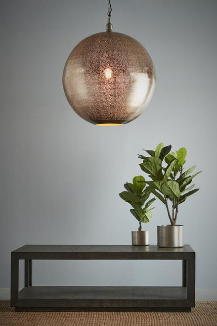 Jupiter Nickel Ball Pendant Light Switched On