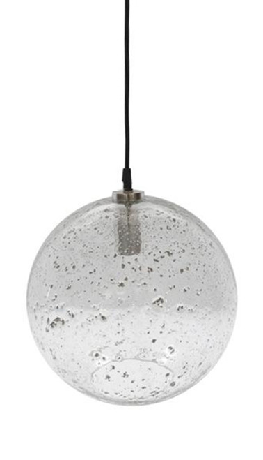 Lustre Glass Ball Stone Effect Pendant Light - Clear