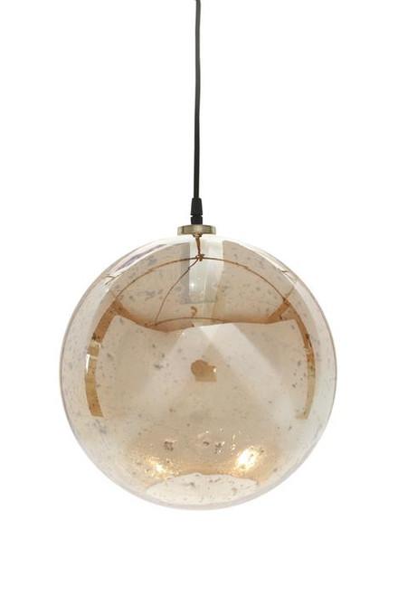Lustre Glass Ball Stone Effect Pendant Light - Gold