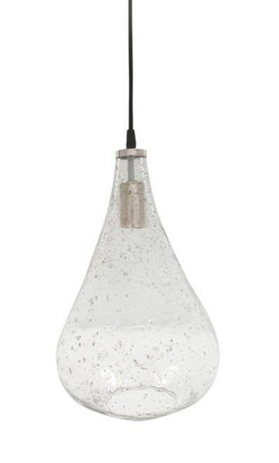 Lustre Glass Teardrop Stone Effect Pendant Light - Clear