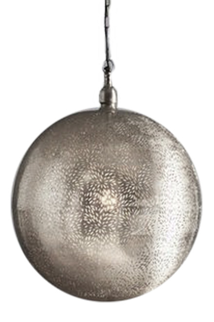 Orlean Extra Large Nickel Pendant Light - Switched Off