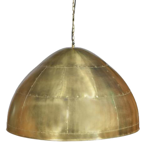 York Large Brass Iron Riveted Dome Pendant Light