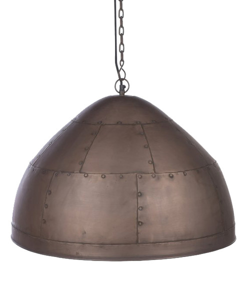York Large Copper Iron Riveted Dome Pendant Light