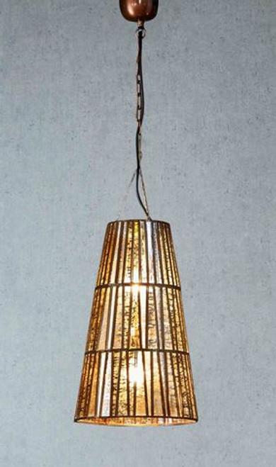Cavalier Large Glass Brass Cone Pendant