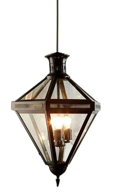 Rockefeller 3 Light Black Glass Pendant Chandelier