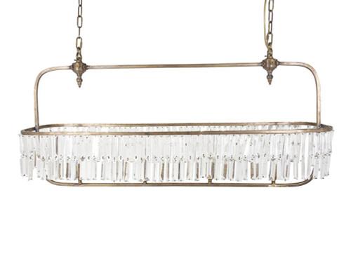 Olde 4 Light Long Brass Glass Chandelier