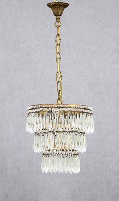Eva 3 Tier Brass and Glass Chandelier - Lights Off