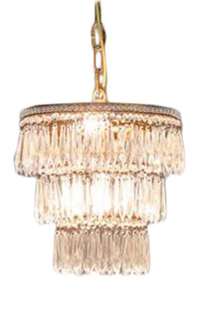 Eva 3 Tier Brass and Glass Chandelier
