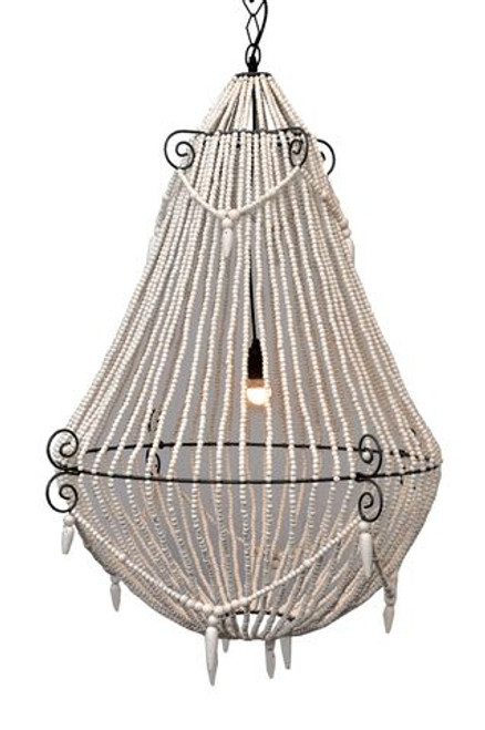 Marley White Beaded Large Chandelier