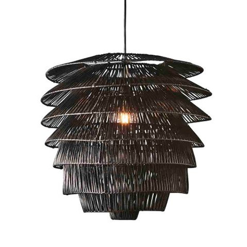 Canya Rattan Black Pendant Light