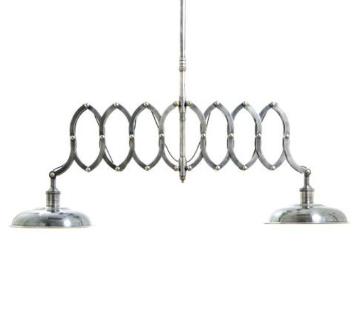 Antique SIlver Double Scissor Hanging Lamp