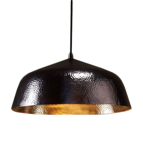 Contemporary Nickel Black Shallow Dome Pendant Light