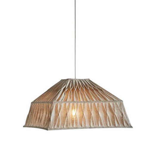 Natural Pleated Square Linen Pendant Light