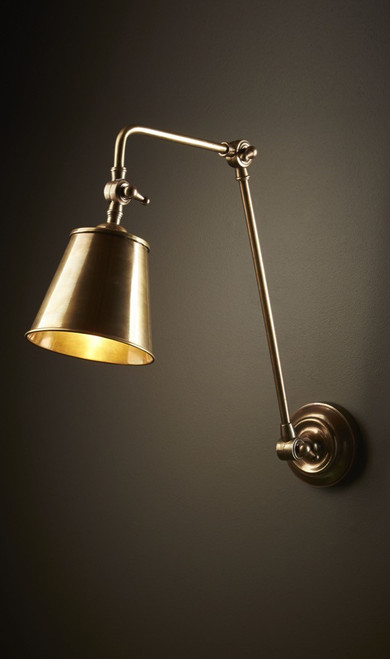 Crown Adjustable Antique Brass Indoor/Outdoor Wall Lamp