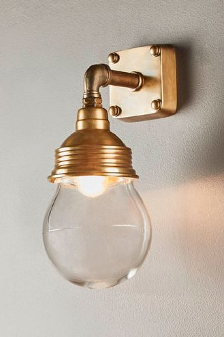 London Antique Brass Indoor/Outdoor Wall Lamp - Lights On