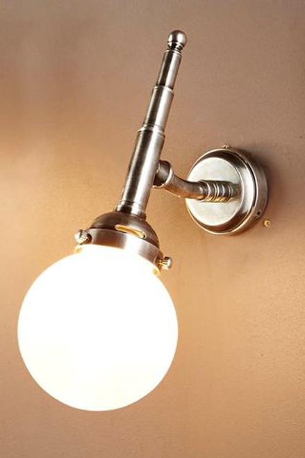 Paris Globe Antique Silver Indoor/Outdoor Wall Light - Lights On