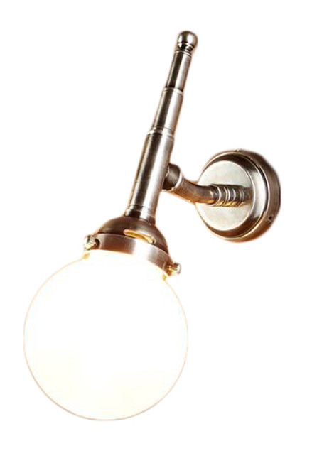 Paris Globe Antique Silver Indoor/Outdoor Wall Light