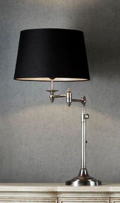 Mac Swing Arm Antique Silver Table Lamp - Black Linen Shade