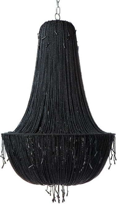 Allegra 8 Arm Beaded Black Chandelier