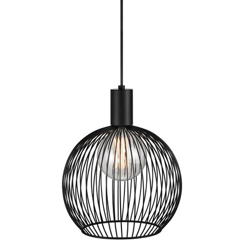 Small - Aver Round Black Pendant Light