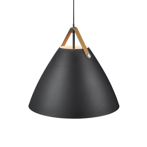 Leather Strap Cone Pendant Light - Black