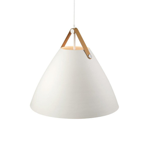 Leather Strap Cone Pendant Light - White with Brown Leather Strap