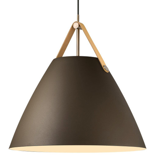 Leather Strap Cone Pendant Light - Beige with Brown Leather Strap