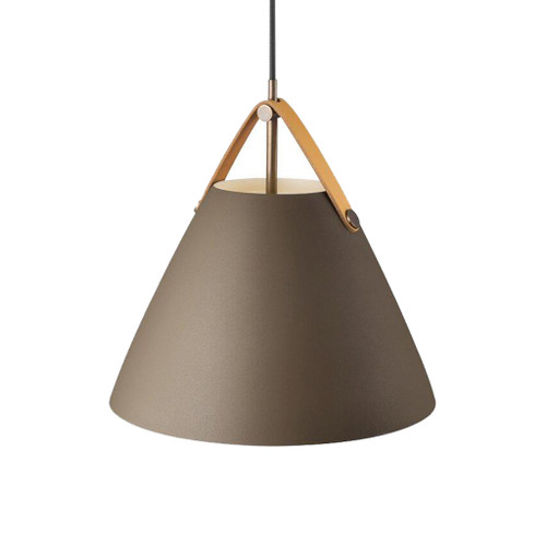 Leather Strap Cone Pendant Light - Beige