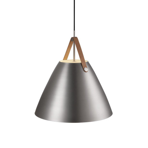 Leather Strap Cone Pendant Light - Brushed Steel with Brown Leather Strap