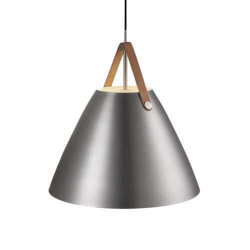 Leather Strap Cone Pendant Light - Brushed Steel
