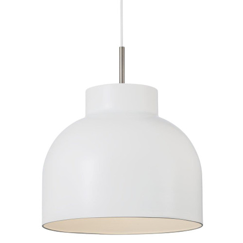 Danish White Dome Pendan Light - Medium