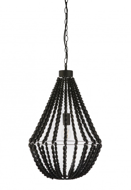 Coastal Black Beaded Pendant Light