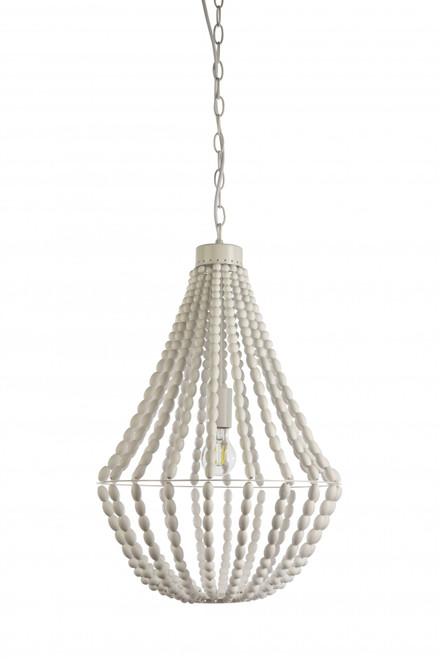 Coastal White Beaded Pendant Light