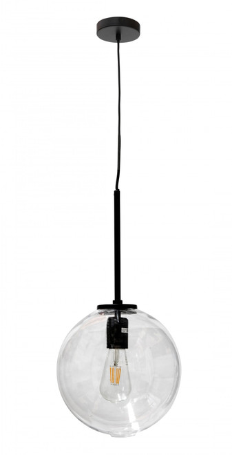 Bastion Black Round Glass Pendant Light