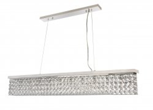 Linear Bar 10 Light Chrome Crystal Pendant Chandelier
