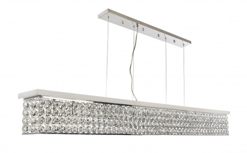 Linear Bar 14 Light Chrome Crystal Pendant Chandelier