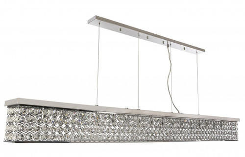 Linear Bar 16 Light Chrome Crystal Pendant Chandelier