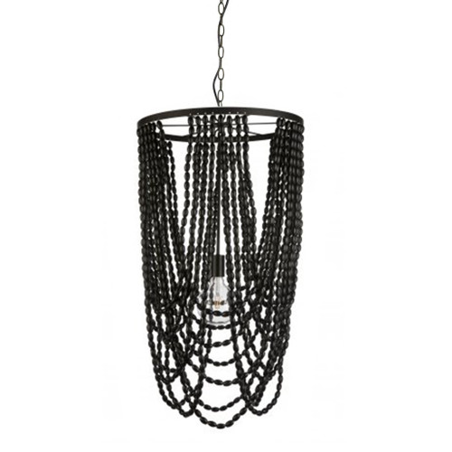 Cascata Black Beaded Pendant Chandelier
