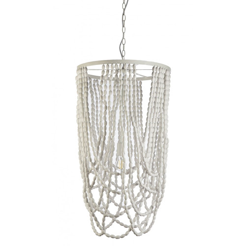 Cascata White Beaded Pendant Chandelier