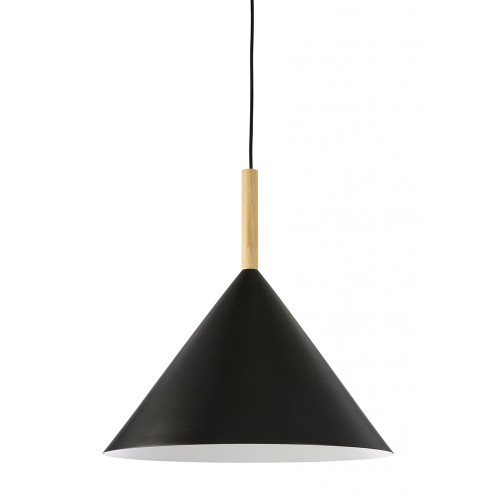 Nordic Black Wood Rod Cone Pendant Light