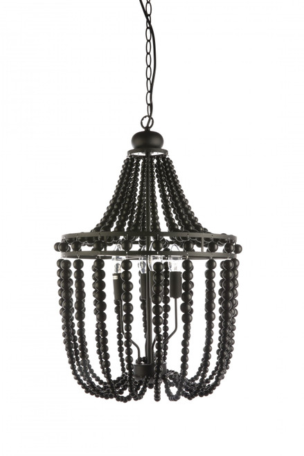 Byron 4 Light Black Beaded Pendant Chandelier