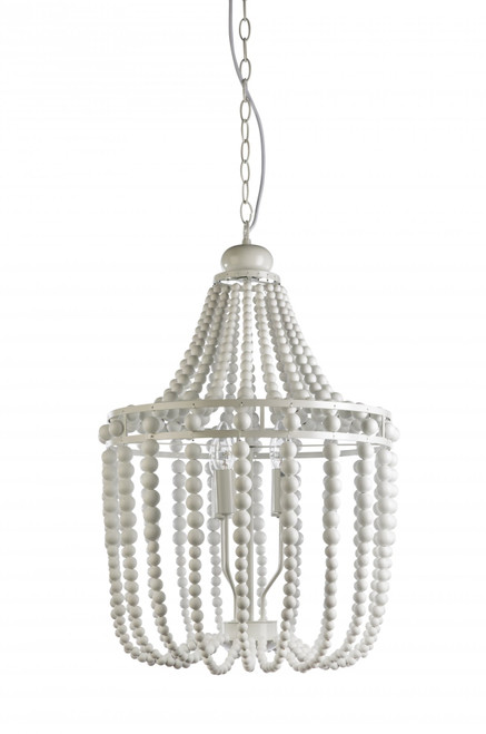 Byron 4 Light White Beaded Pendant Chandelier