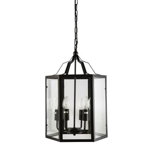 Moulin 6 Light Black Cage Clear Glass Pendant Chandelier