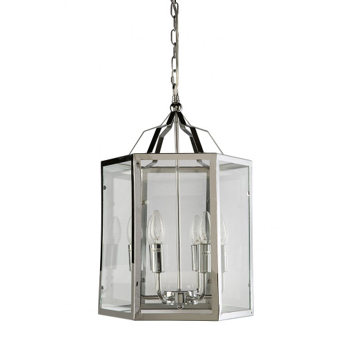 Moulin 6 Light Chrome Cage Clear Glass Pendant Chandelier