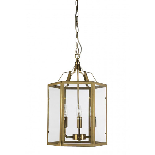 Moulin 6 Light Gold Cage Clear Glass Pendant Chandelier